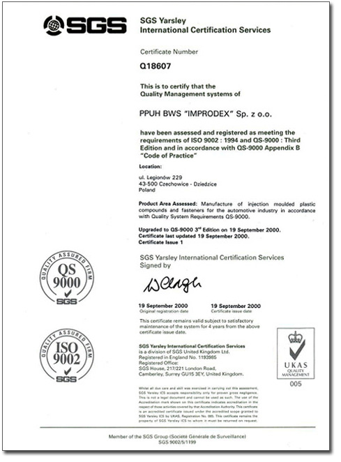 2000 - QS-9000 certification and production for Gardinia